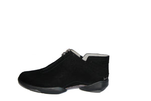 top zipper closure, sued upper, leather lining, memory foam foot-bed for comfort & padded comfort heel