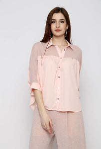 button down blouse with metallic mesh insert, collar neckline, three quarter sleeves and loose fit.