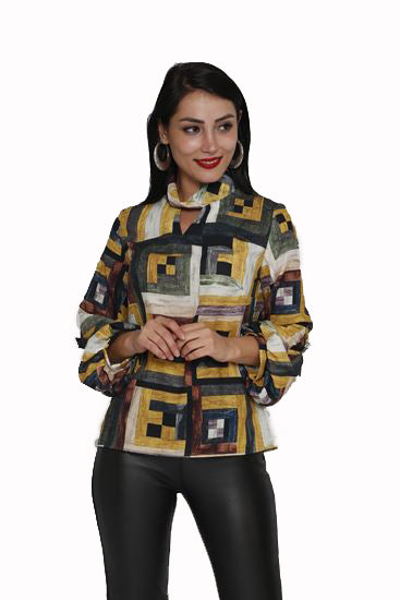 Geo printed blouse, long sleeves, mock neckline  with keyhole detail