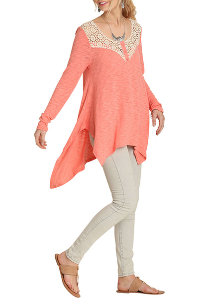 boho top, crochet inserted neckline with front button, long sleeves, hi-low hemline