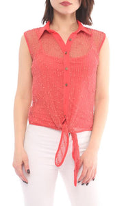 Mesh button down top feature self-tie, sleeveless, collar and it comes with tank.