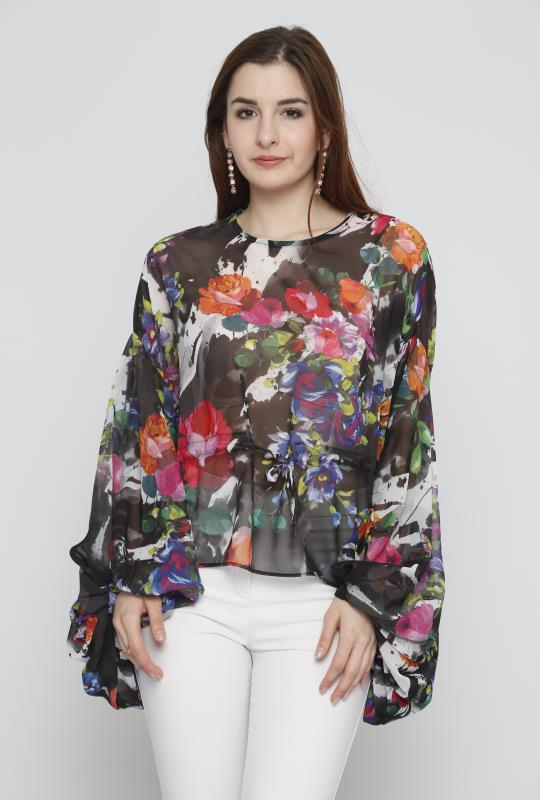 flower print blouse, oversized sleeves, sheer top, summer top