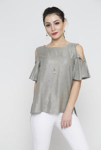 blouse, night out, metallic fabric, scoop neckline, pullover style, short sleeves with fold over detail, button back closure