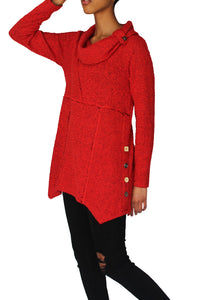 red sweater, tunic sweater, cowl neck,  button detail
