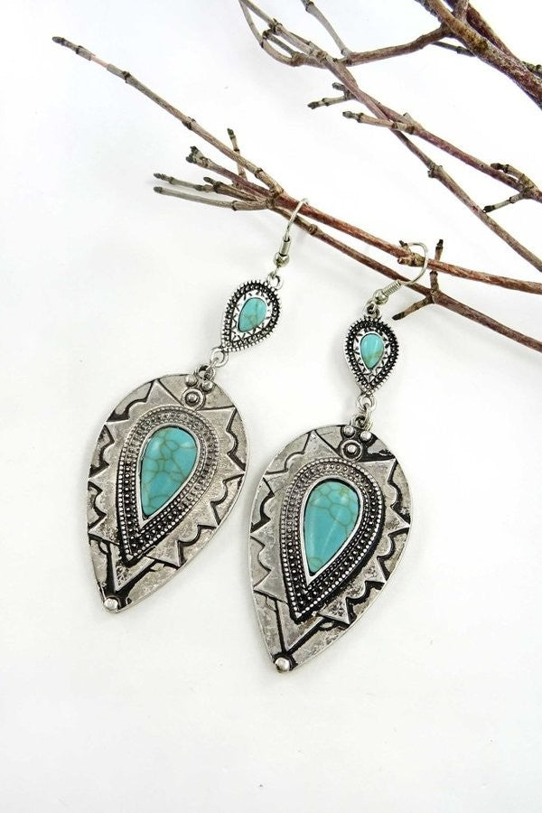 Bohemian etched drop earring