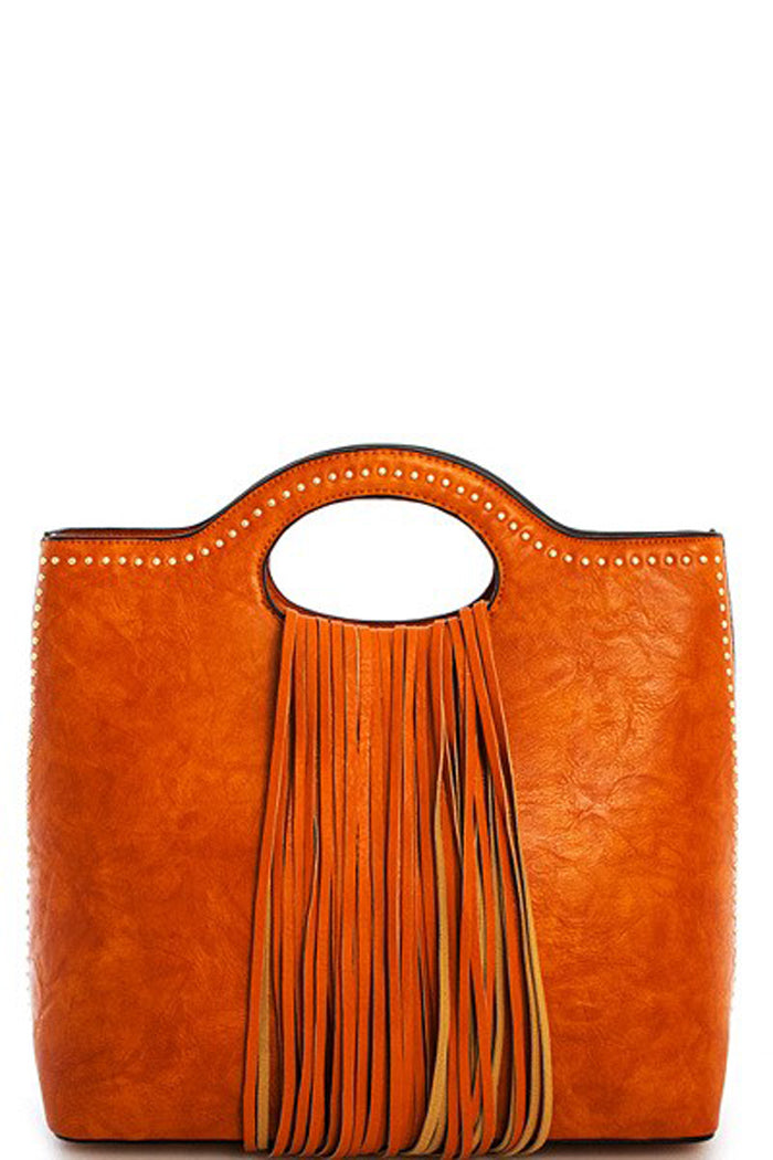 stud embellished, fringed satchel, handbag