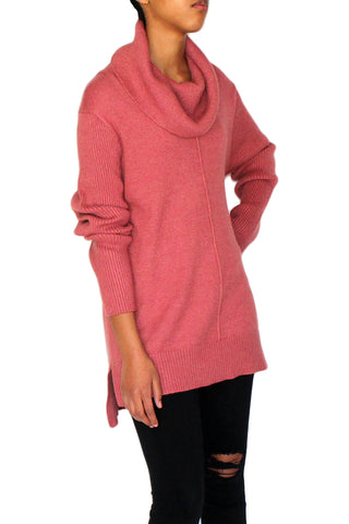 Cowl neck sweater from Vision 155, sweater features long sleeves, Cowl neckline, Hi-low hem, pullover style