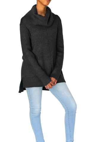 COWL NECK HI-LOW SWEATER