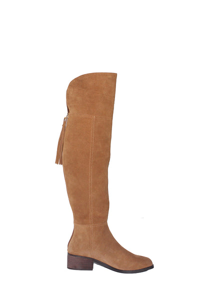 Suede Over-the-Knee Block Heel Boots Feature: • Suede upper •
