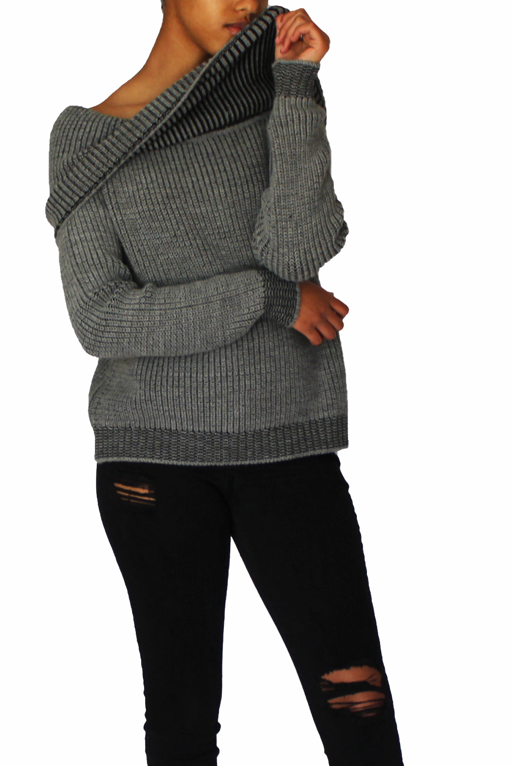 Gray  sweater, Off-shoulder,  cowl neck