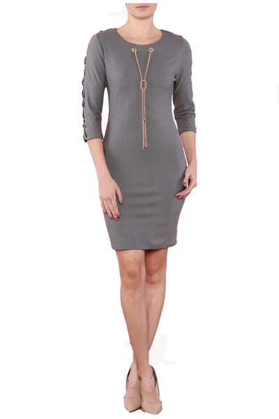 Gray fitted dress, night out dress, cockatiel dress