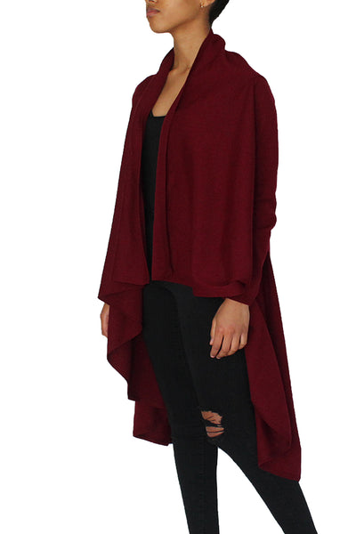 Draped front cardigan featuring long sleeves, shawl collar, open front