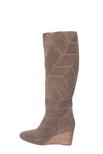 suede Chevron Stitch wedge Boots