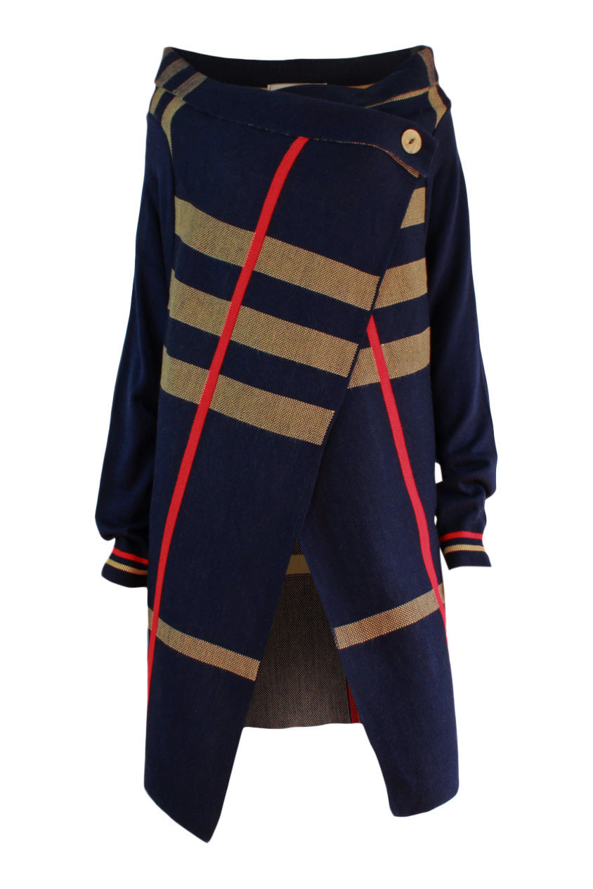 check print cardigan, ribbed cuffs. navy  cardigan