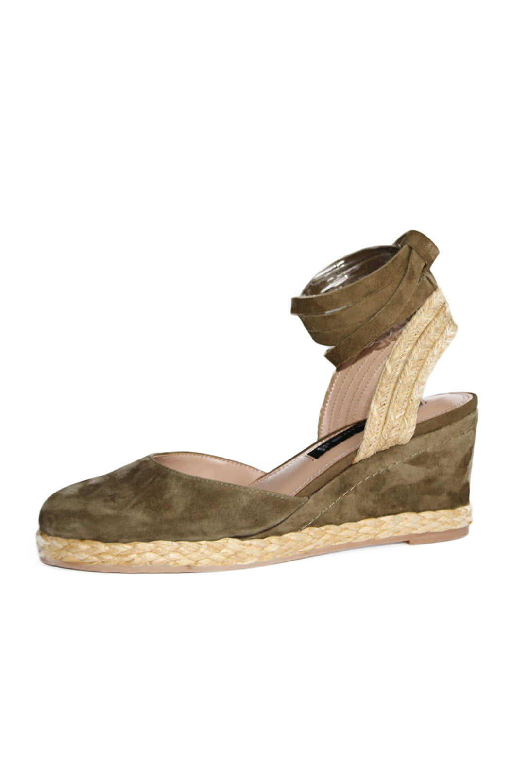 espadrille wedge,, suede upper, rounded toe, padded insole