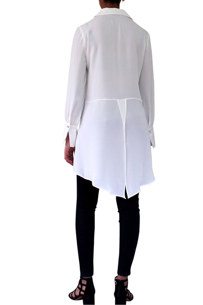 white shirts,  button down, long sleeves, point collar,  Tunic