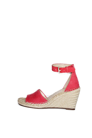 Vince Camuto brand wedge sandals feature round open-toe wedges with ankle strap and buckle closure, coral suede upper, espadrille platform wedge sandals