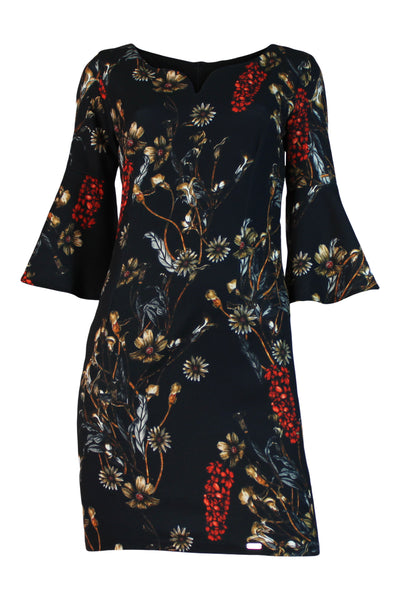 Flower printed sheath dress ,  three quarter bell sleeve , mini dress night out dress