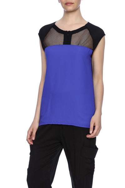 mesh inserted, blouse, blue top, sleeveless,