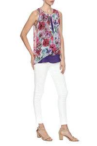 flower print blouse, sheer fabric, layer front, scoop neckline with slit, button closure at front and sleeveless.