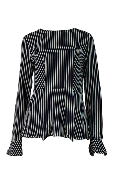 Long sleeve top, striped blouse, tie detail