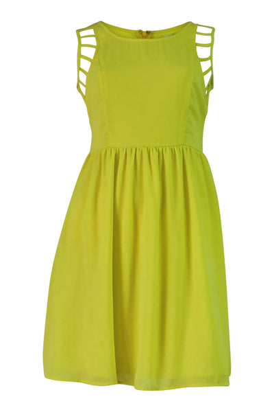 lime color dress, sleeveless, cutout detail at shoulders, round neck, zip back closure