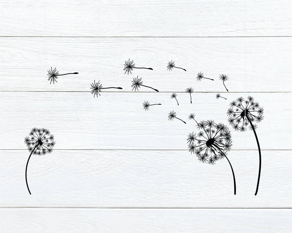 Three Dandelions in the Wind SVG