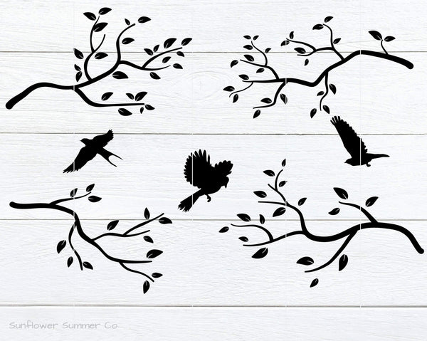 Branches and Birds SVG- branches svg- tree branch svg- bird svg - botanical svg - tree branch clipart