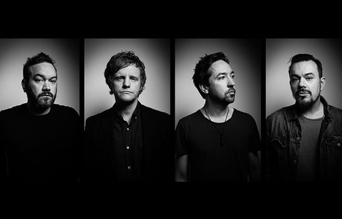 Shihad band members L - R: Karl Kippenberger, bass guitar; Phil Knight, Synthesizers, Jon Toogood, vocals;  Tom Larkin, drums