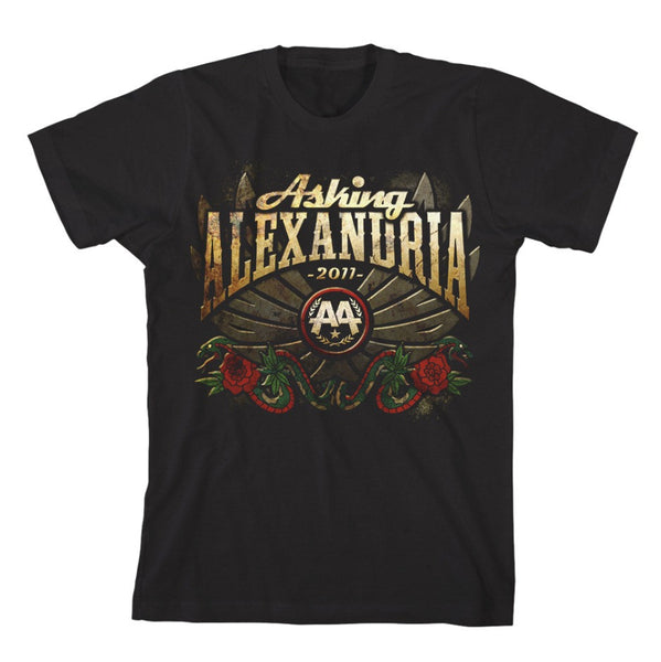 Asking - Alexandria - Winged Snake - Mens Black T-Shirt