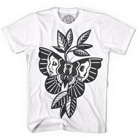 White Butterfly Skull T-Shirt - Twisted Thread Clothing