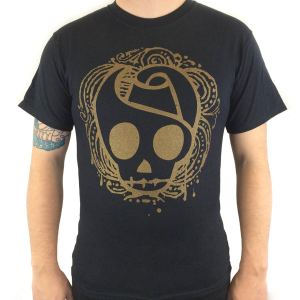 Gold Skull - Black Tee - Twisted Thread Clothing