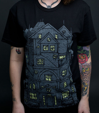 Haunted House Black T-Shirt