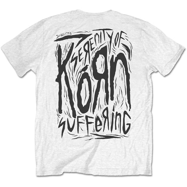 Korn - Scratched Type - Mens White T-Shirt - W/Back Print - Twisted Thread Clothing