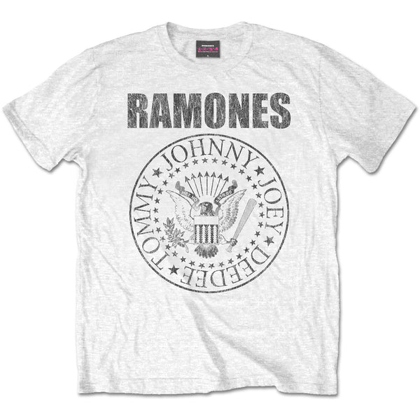 Ramones - Distressed Presidential Seal - Mens White T-shirt