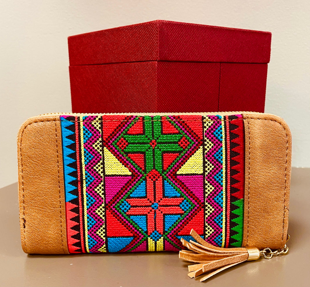 Tunisian Wallet - Warm Beige