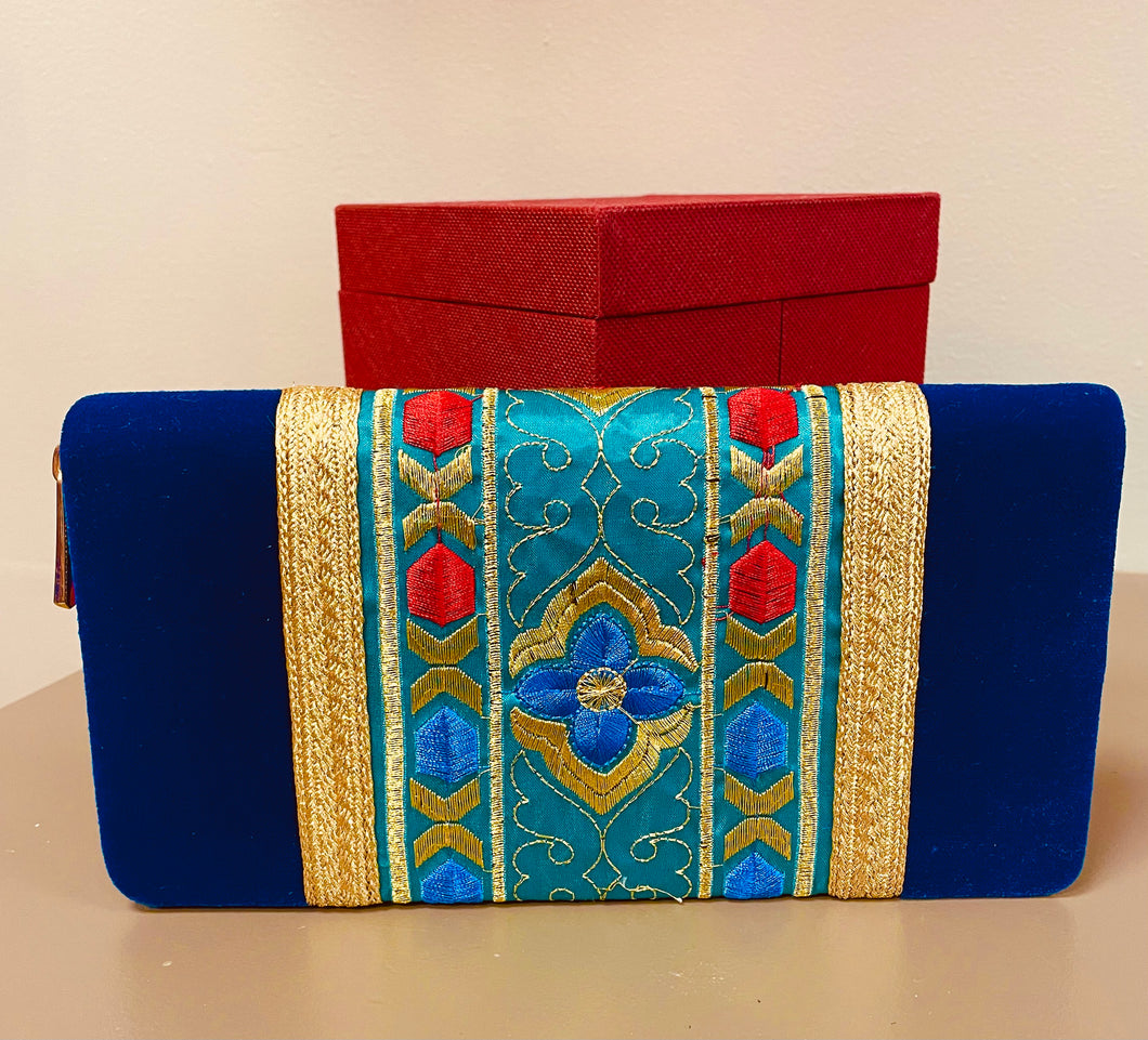 Tunisian Wallet - Large Blue
