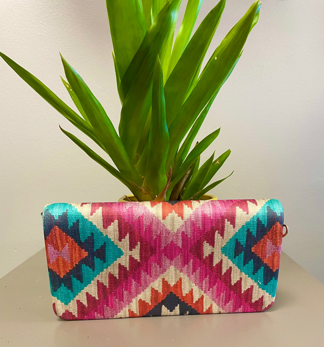 Tunisian Wallet - Pink & Red Pattern