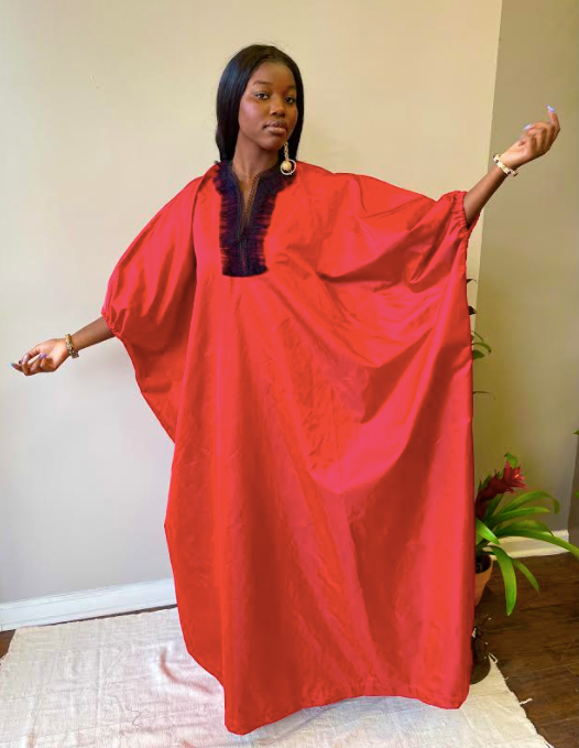 Red Caftan with Black Lace Trim