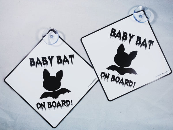 Baby Bat on Board Card Sign