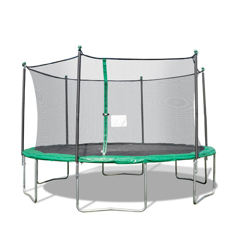 TruJump 14 Foot Green Trampoline with Enclosure