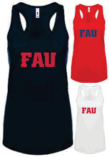 Load image into Gallery viewer, Ladies Racerback Tank Top FAU Block Letters (Logo 4)