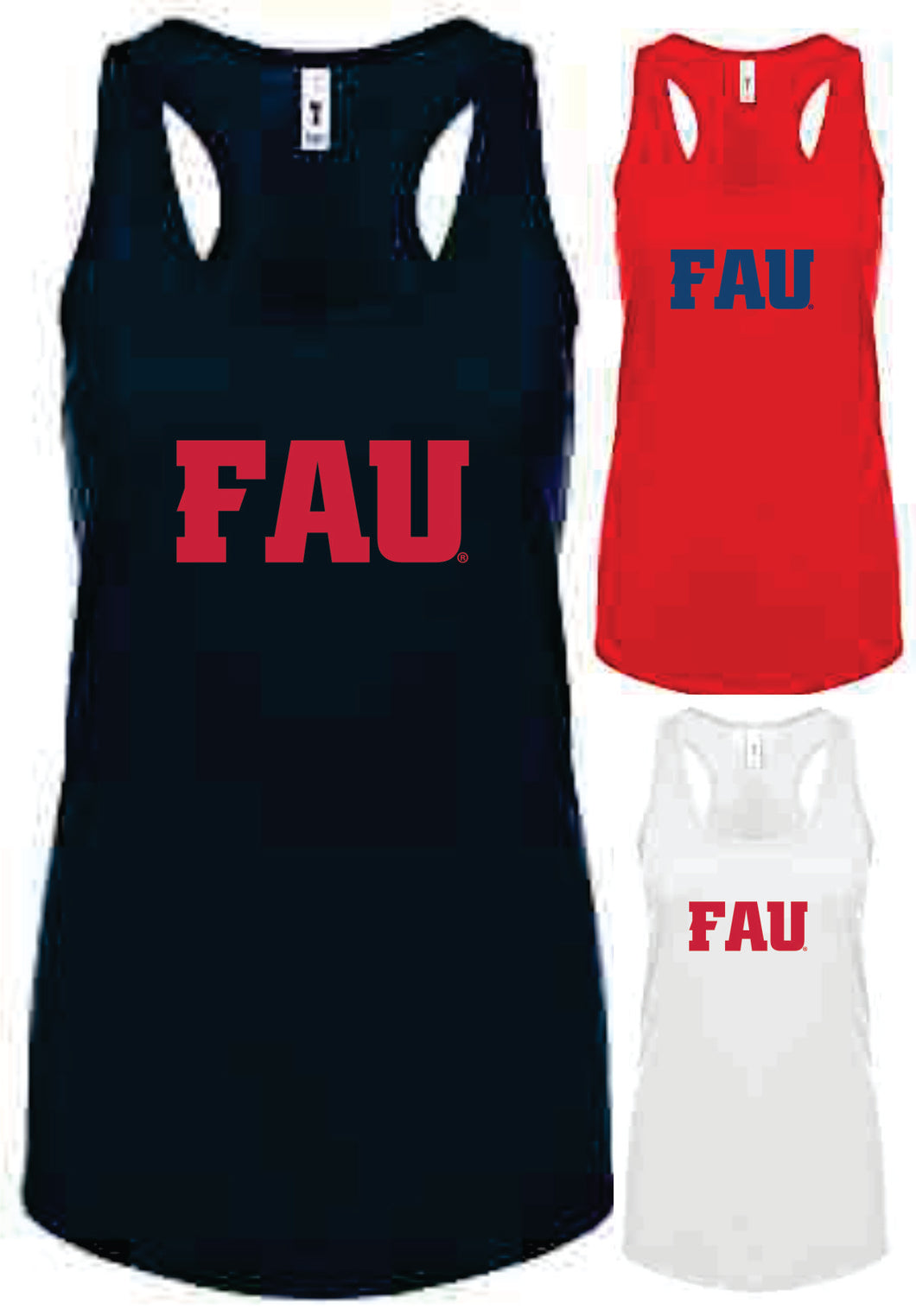 Ladies Racerback Tank Top FAU Block Letters (Logo 4)