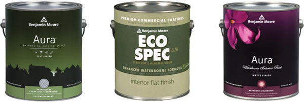 Benjamin Moore Aura and Eco Spec paint cans
