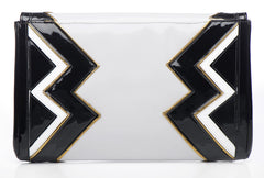 BLACK AND WHITE ZIG ZAG LEATHER CLUTCH