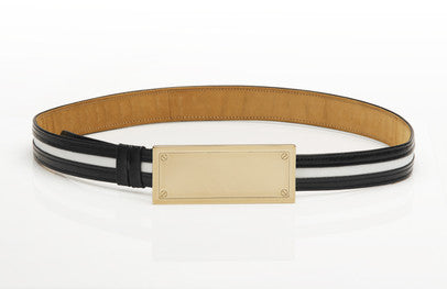 Leather black and white belt with solid gold buckle