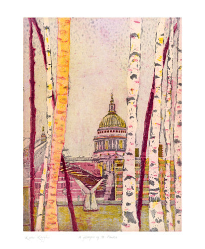 Greetings Card - A Glimpse of St Paul's : Karen Keogh