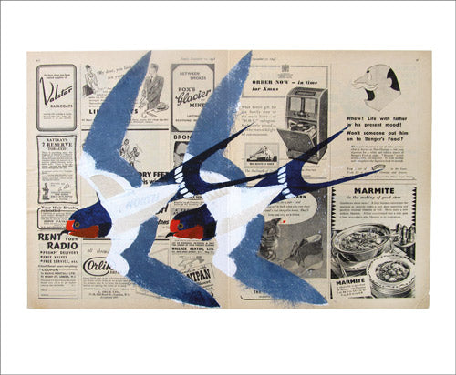 Greetings Card - Two Swallows : Mick Manning