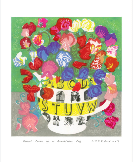 Greetings Card - Sweet Peas in Ravillious Jug
