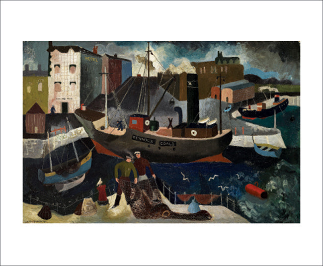 Greetings Card - Renwick Coals, Ship & Fisherman : Suzanne Cooper